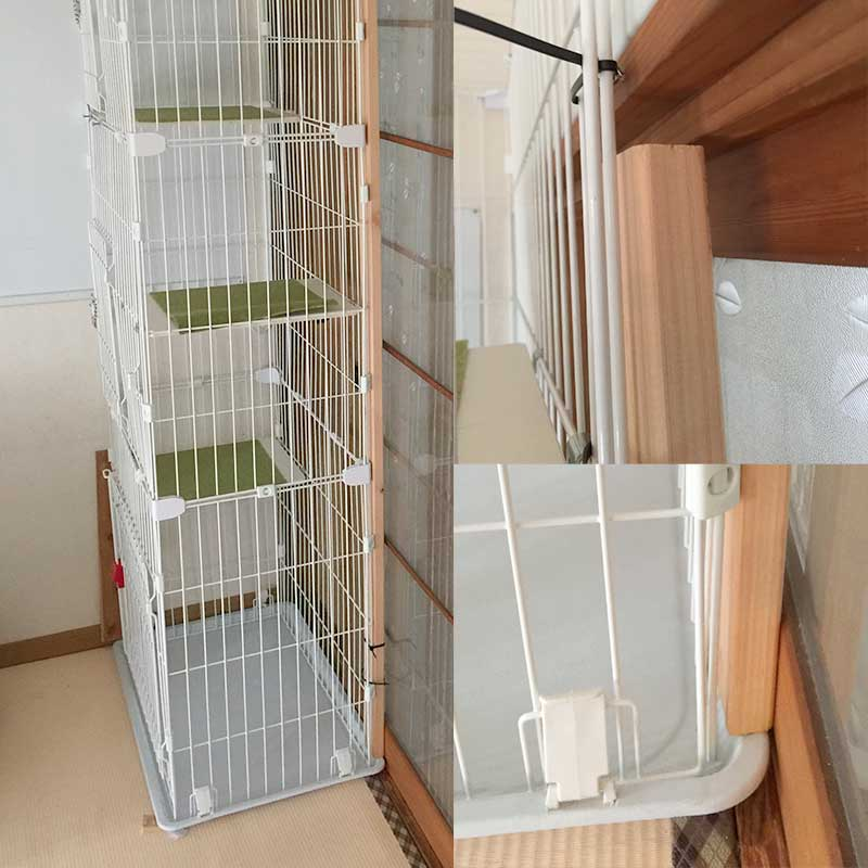 スリム3段ケージを廊下への出口に固定