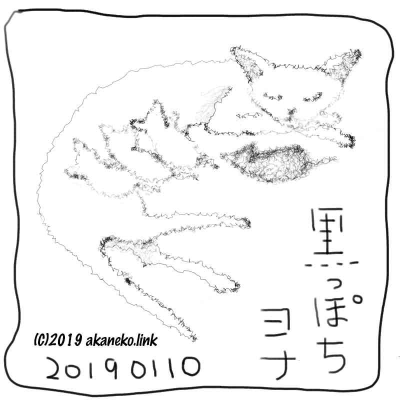 母猫と子猫3匹のモノクロイラスト