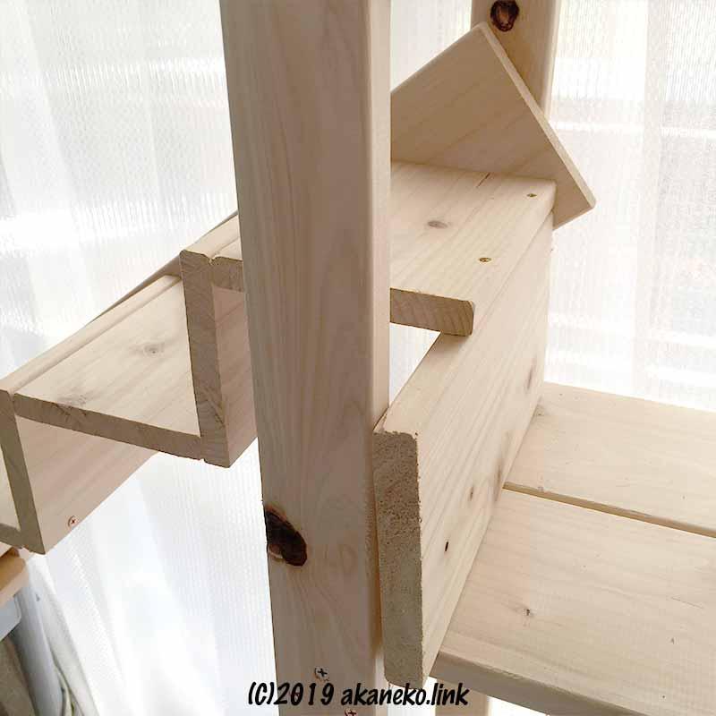 自作猫棚につけた階段