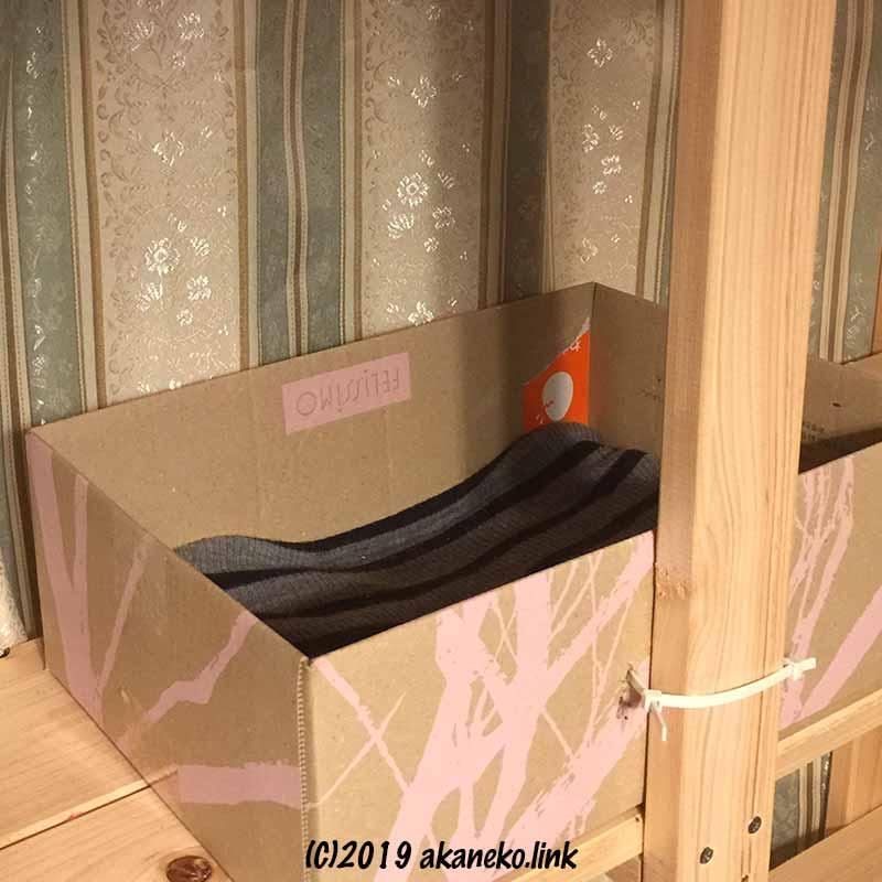 24センチ×35センチのフェリシモダンボール箱の猫ベッド