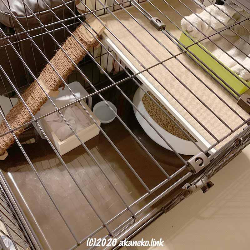アイリスオーヤマのコンビネーションサークル1段で子猫ハウス